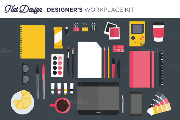 Designer S Workplace Flat Design
