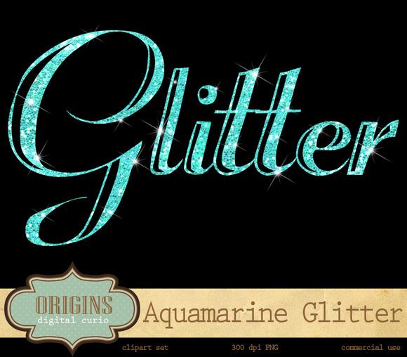 Aquamarine Glitter Alphabet