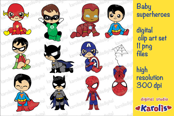 Baby Superheroes Clip Art Set