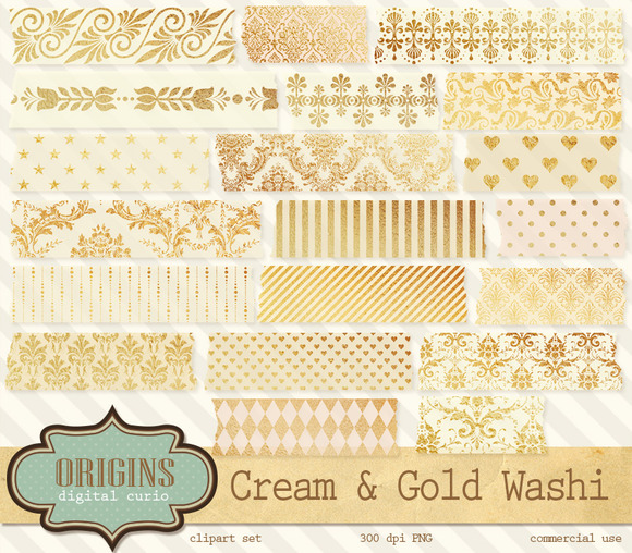 Cream And Gold Washi Tape