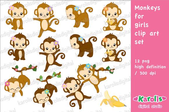 Monkeys For Girls Clip Art Set