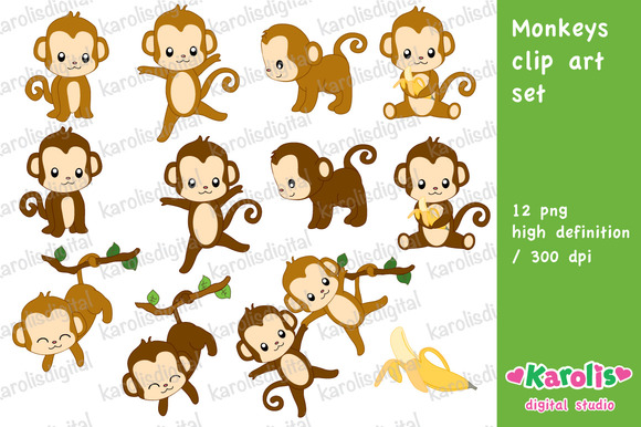 Monkeys Clip Art Set