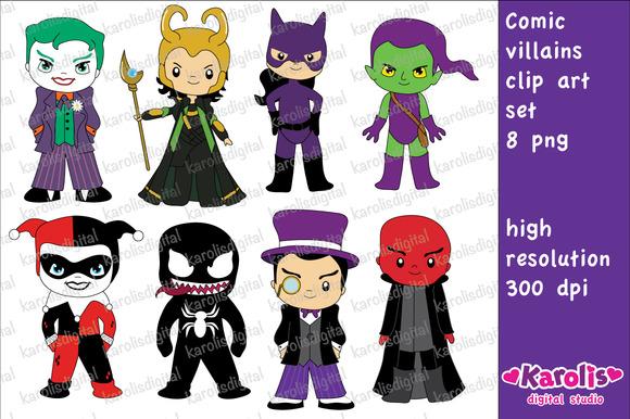 Comic Villains Clip Art Set