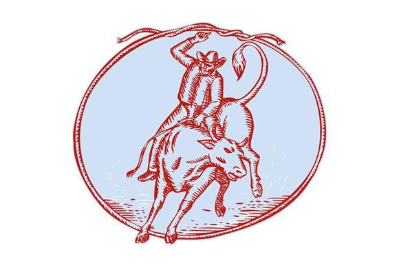 Rodeo Cowboy Bull Riding Circle Etch