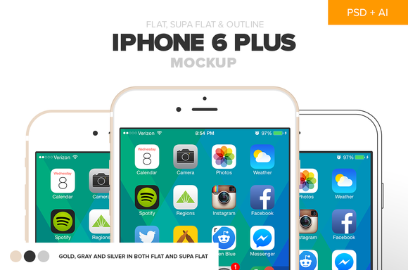 Flat IPhone 6 Plus Mockup PSD AI