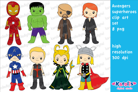 Avengers Superhero Clip Art Set