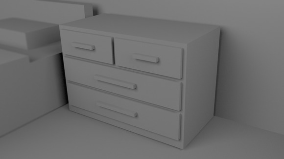 A Cupboard 3D Rendered