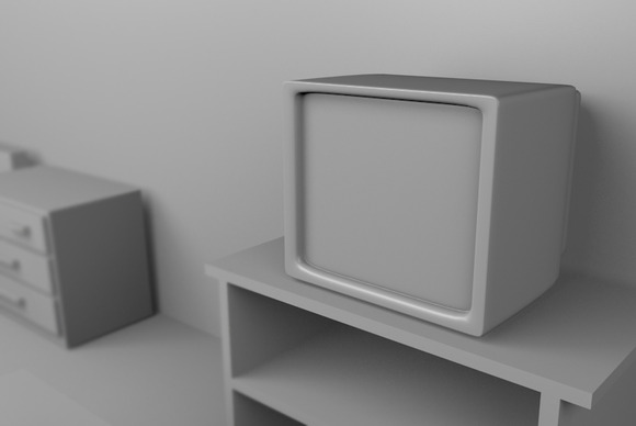 A Television 3D Rendered