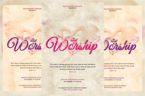 The Heart Of Worship Church Flyer