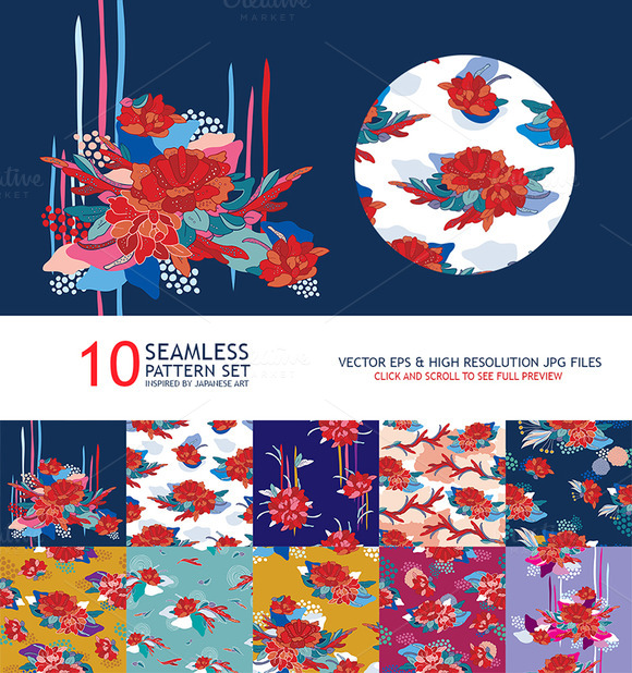10 Japan Seamless Floral Pattern Set