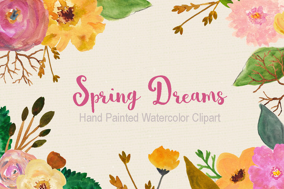 Hand Painted Pink Garden Flowers