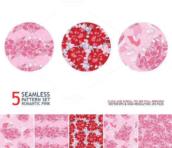 5 Romantic Pink Seamless Pattern Set