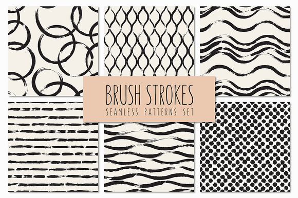 Brush Strokes Seamless Patterns V.3