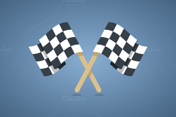 Two Crossed Checkered Racing Flags