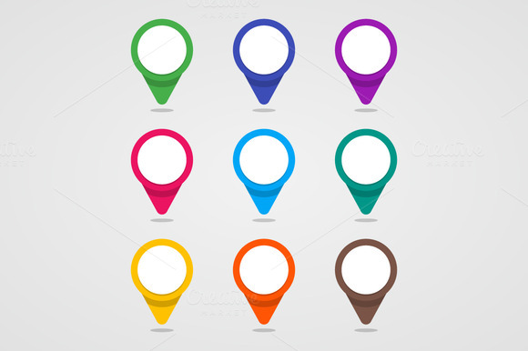 Set Of Colorful Map Pointer