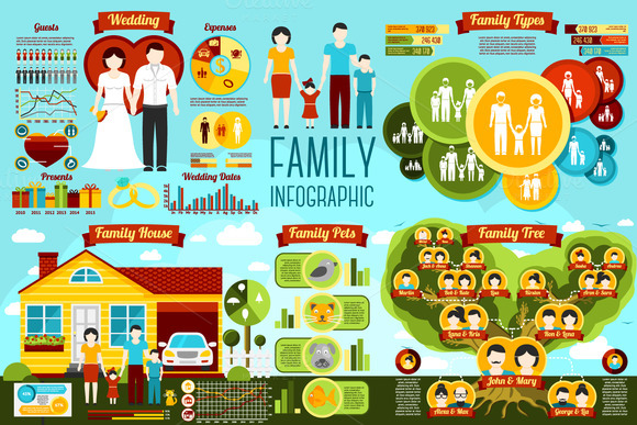 Set Of Family Infographics