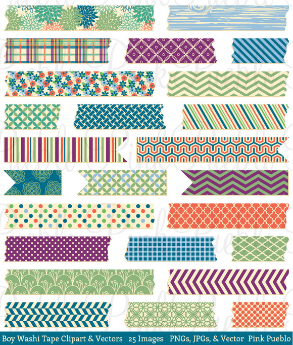 Boy Washi Tape Clip Art Vectors