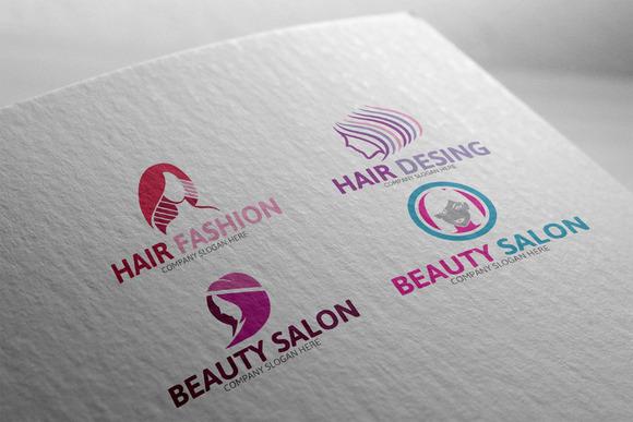 Beauty Shop Logo 4 Piece