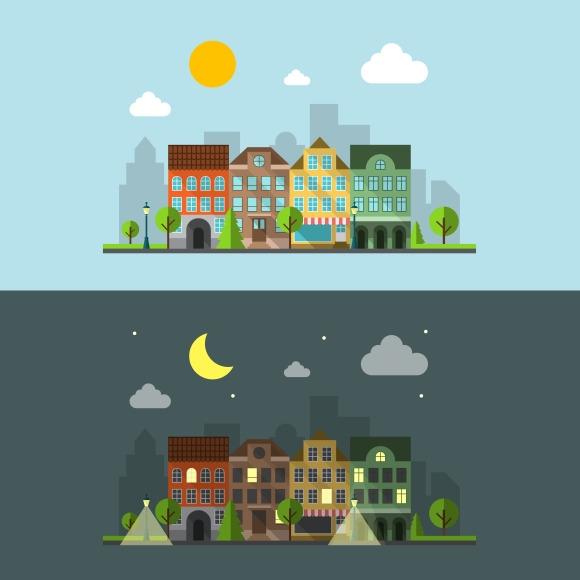 Flat Design Urban Landscape