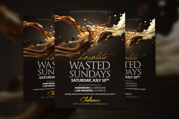 Chocolate Wasted Flyer Template