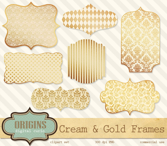 Cream And Gold Frames Clipart