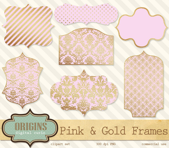 Pink And Gold Frames Clipart
