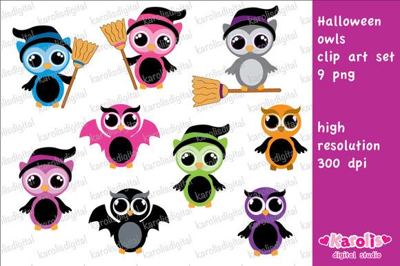 Halloween Owls Clip Art Set