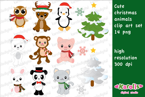 Christmas Animals Clip Art Set