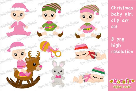 Christmas Baby Girl Clip Art Set