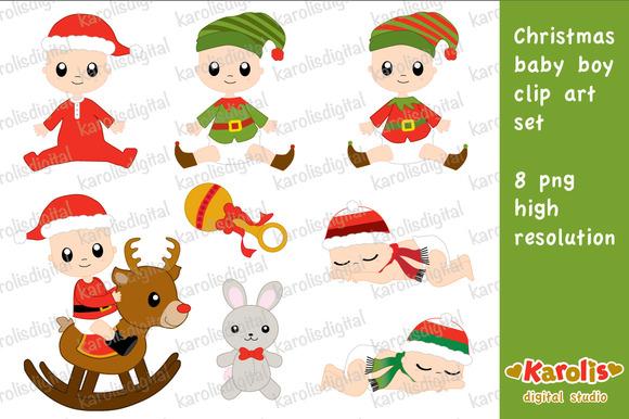Christmas Baby Boy Clip Art Set