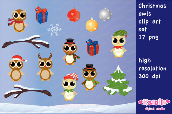 Christmas Owls Clip Art Set