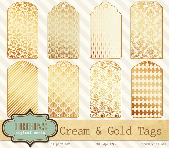 Cream And Gold Gift Tags