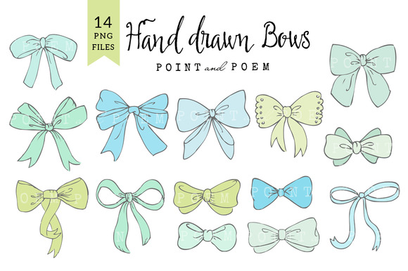 Bow Clip Arts Mint Blue