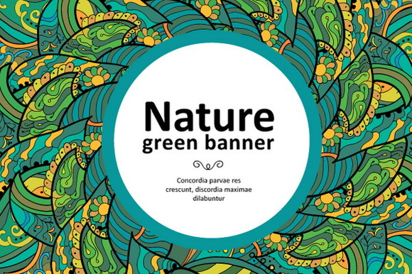 Floral Green Banners And Patterns