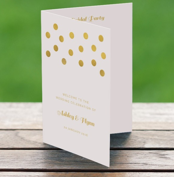 Wedding Program Gold Confetti