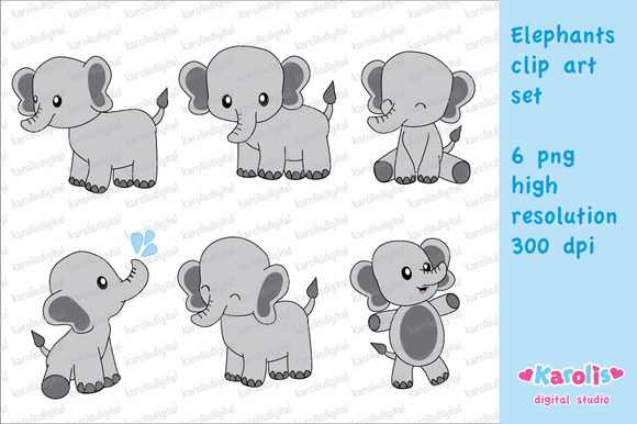 Cute Elephants Clip Art Set