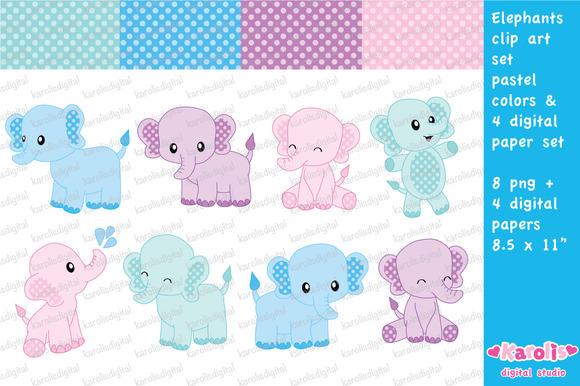 Cute Elephants Pastel Colors