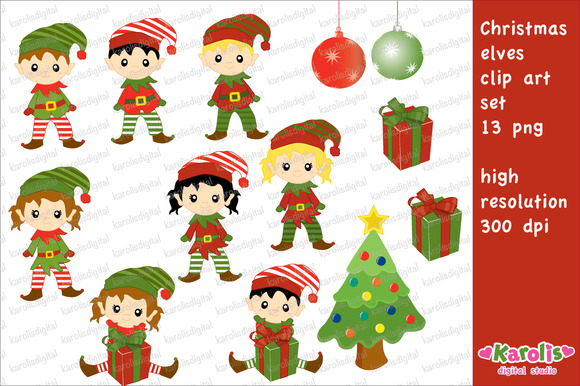 Christmas Elves Clip Art Set