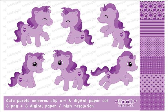 Purple Unicorns Clip Art Set