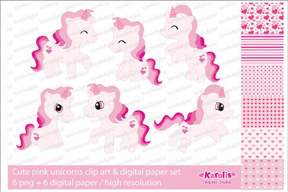 Pink Unicorns Clip Art Set