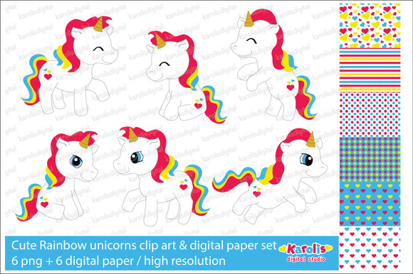 Rainbow Unicorns Clip Art Set
