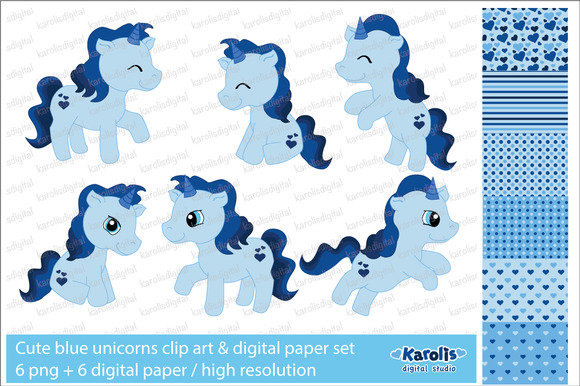 Blue Unicorns Clip Art Set