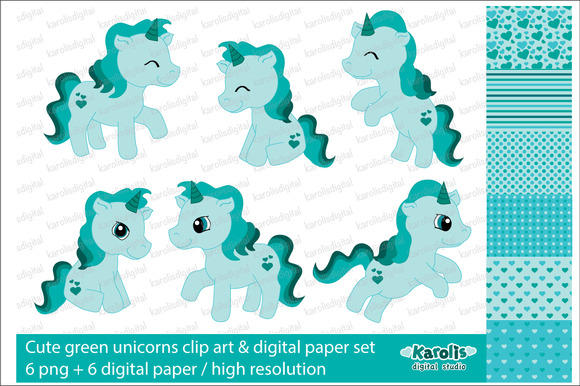 Green Unicorns Clip Art Set