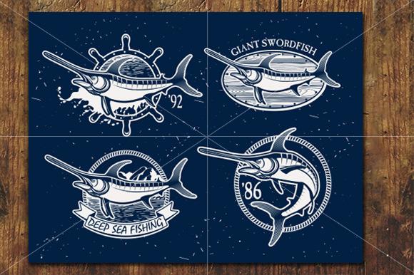 Vintage Swordfish Fishing Emblems