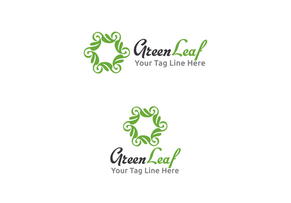 Green Leaf Logo Design Template
