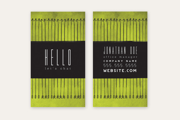 Business Card Template Green Arrows