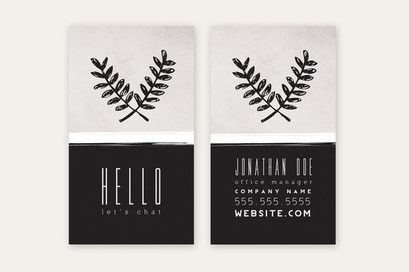 Business Card Template Leaves