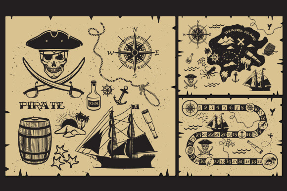 Set Of Vintage Pirate Elements