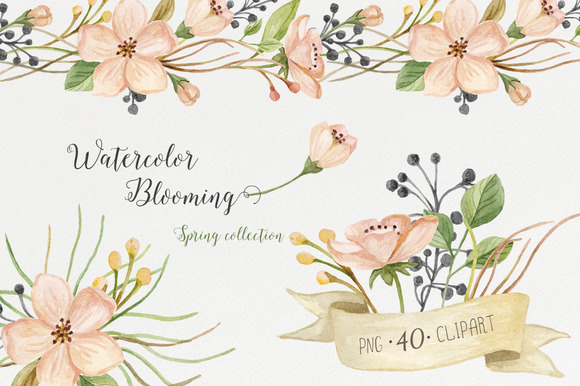 Watercolor Blooming Spring Set