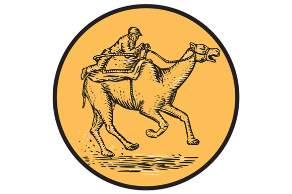 Jockey Camel Racing Circle Etching